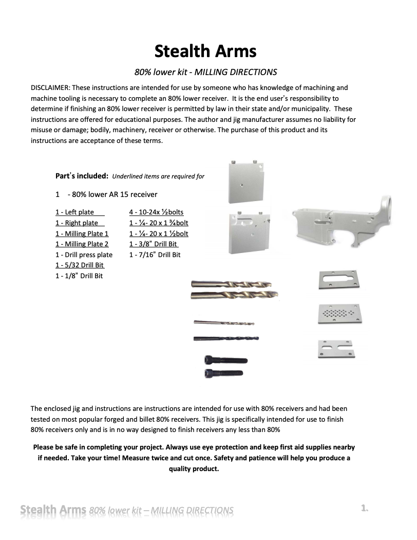 AR-15 Jig Kit Milling Directions - Stealth Arms